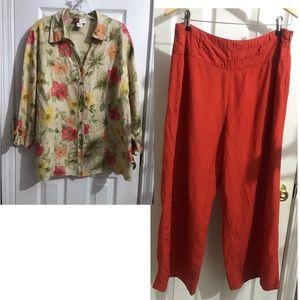 Leslie Fay Linen Pants 16 & JM Linen Blouse 16W
